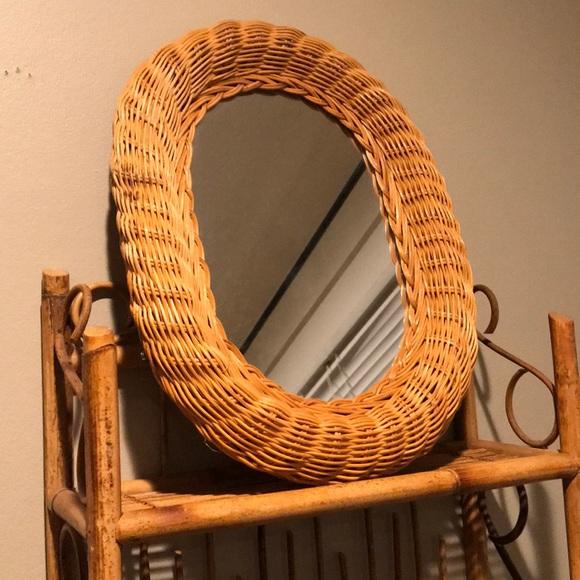 Vintage wicker oval mirror
